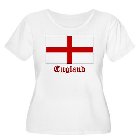 England Flag Women's Plus Size Scoop Neck T-Shirt