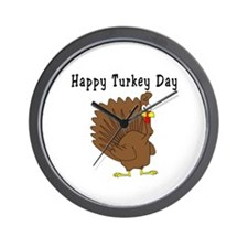 Happy Turkey Day Wall Clock