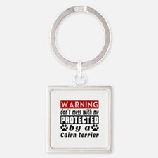 Protected By Cairn Terrier Dog Square Keychain
