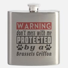 Protected By Brussels Griffon Dog Flask