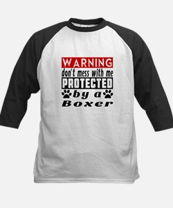 Protected By Boxer Dog Kids Baseball Jersey