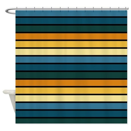 Multicolored Stripes: Blue, Teal, O Shower Curtain