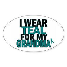 I Wear Teal For My Grandma 5 Oval Decal