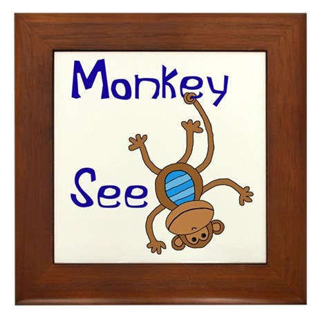 Monkey See blue Framed Tile
