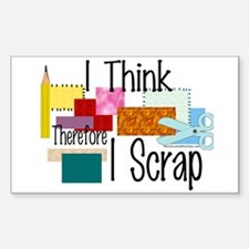 I Think Therefore I Scrap Rectangle Decal