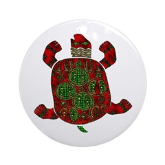 Red African Turtle Ornament (Round)