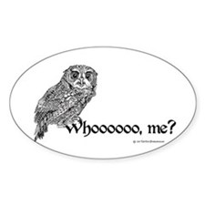 Whoo Me? Owl Oval Decal