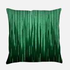 Green Binary Rain Everyday Pillow