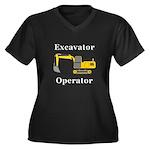 Excavator Op Women's Plus Size V-Neck Dark T-Shirt