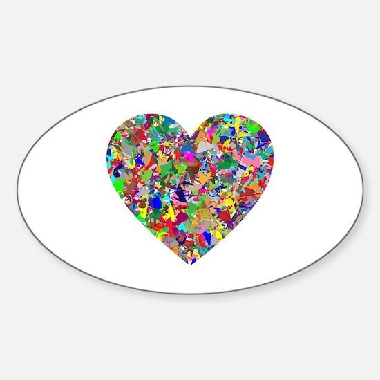 Unique Rainbow splatter Sticker (Oval)