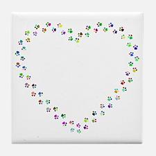 Cute Rainbow paws Tile Coaster