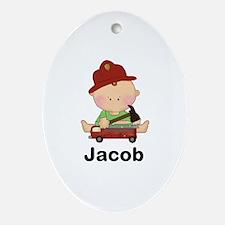 Jacob's Little Firefighter Oval Ornament