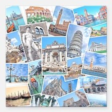 "Italy Collage Square Car Magnet 3"" x 3"""