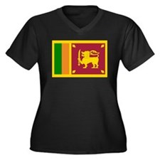 Sri Lanka Women's Plus Size V-Neck Dark T-Shirt