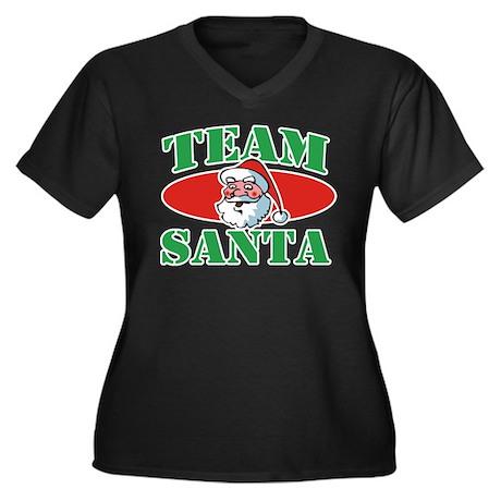 Team Santa Christmas Women's Plus Size V-Neck Dark