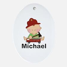 Michael's Little Firefighter Oval Ornament