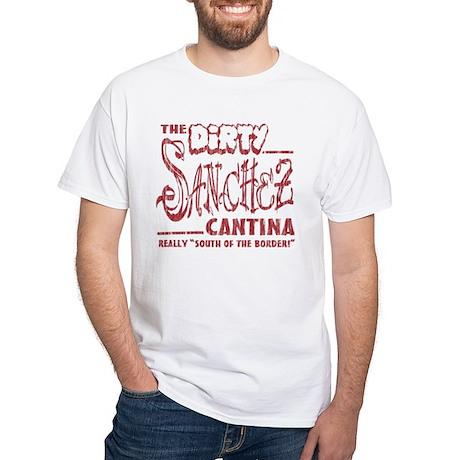 The Dirty Sanchez (Red Print) White T-Shirt