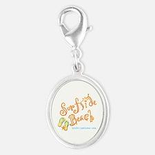 Surfside Beach - Silver Oval Charm