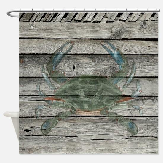Rustic Barn Wood Blue Crab Shower Curtain