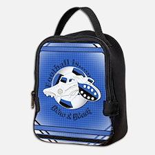 Blue and Black Football Soccer Neoprene Lunch Bag