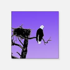 "Sunset Bald Eagle Square Sticker 3"" x 3"""