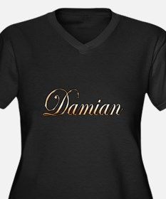 Unique Damian Women's Plus Size V-Neck Dark T-Shirt