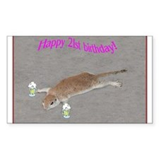21st b-day prairie dog Rectangle Decal