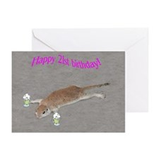 21st b-day prairie dog Greeting Cards (Pk of 10)