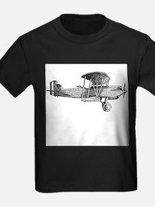 Retro Black and White Plane Kids T-Shirt