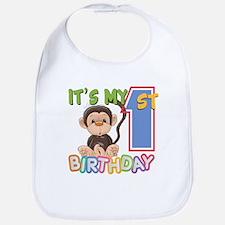 Monkey 1st Birthday Bib