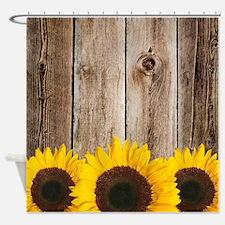 Rustic Barn Wood Sunflower Edge Shower Curtain