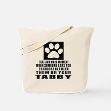 Awkward Tabby Cat Designs Tote Bag