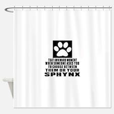 Awkward Sphynx Cat Designs Shower Curtain