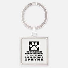 Awkward Sphynx Cat Designs Square Keychain