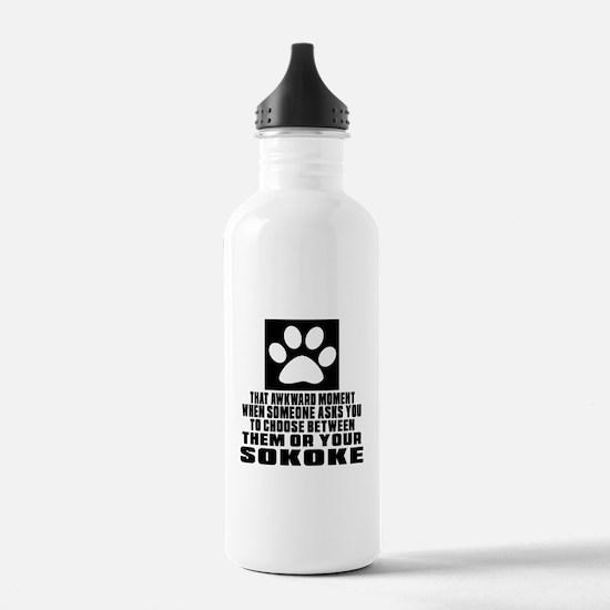 Awkward Sokoke Cat Des Water Bottle