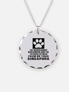 Awkward Singapura Cat Design Necklace