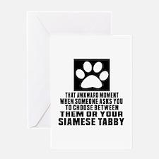 Awkward Siamese tabby Cat Designs Greeting Card