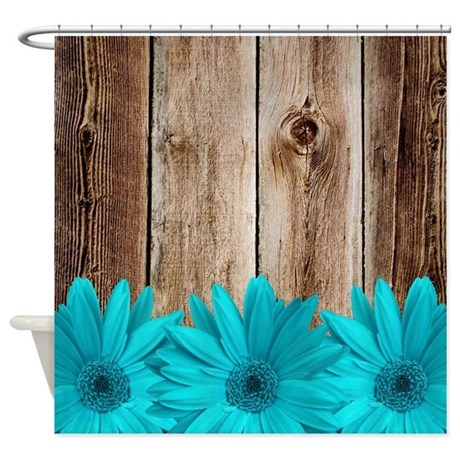 rustic barn wood teal daisies shower curtain