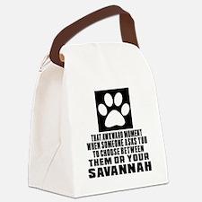 Awkward Savannah Cat Designs Canvas Lunch Bag