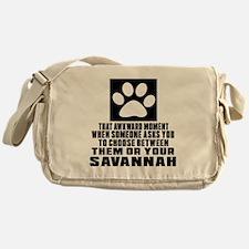 Awkward Savannah Cat Designs Messenger Bag
