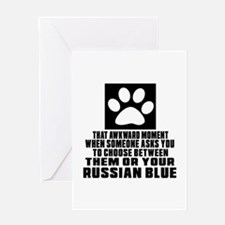 Awkward Russian Blue Cat Designs Greeting Card