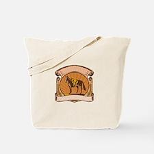 Horse Western Saddle Scroll Woodcut Tote Bag