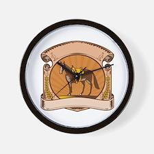 Horse Western Saddle Scroll Woodcut Wall Clock