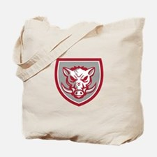 Wild Boar Razorback Head Angry Shield Retro Tote B