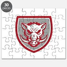 Wild Boar Razorback Head Angry Shield Retro Puzzle