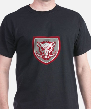 Wild Boar Razorback Head Angry Shield Retro T-Shir