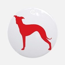 Greyhound Two Red 2 Round Ornament