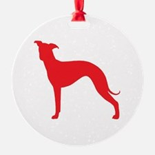 Greyhound Two Red 2 Ornament