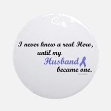 Never Knew A Hero (Husband) Ornament (Round)