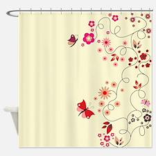 Floral Butterflies Swirl Shower Curtain